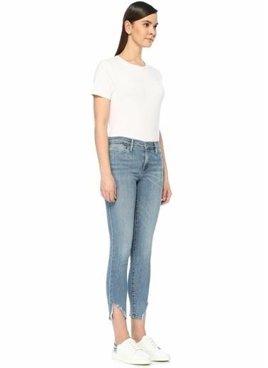 Frame Denim Yüksek Bel Yırtmaçlı Skinny Jean Pantolon Mavi